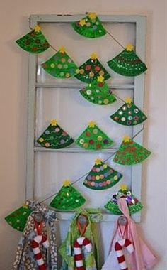 Paper plate Christmas tree garland- cute kid craft
