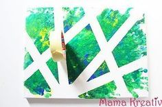 Malen mit kreppband klebeband kinder leinwand gestalten ideen canva painting ideas tape