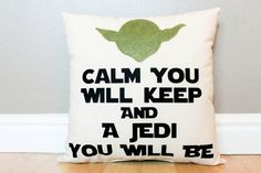 I love Star Wars! This pillow is perfect for any Star Wars fan! - 100% cotton; light, durable canvas material  - Text is made of highly durable heat