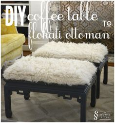 Love the texture! These would be great at the end of the bed. You could use a coffee table as a bench.                      DIY Tutorial: End Table To Flokati Ottoman | A Storied Style | A design blog dedicated to sharing the stories behind the styles we create.