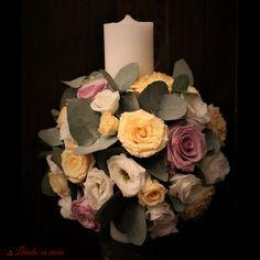 Baptism candle  #floral #design #baptism #candle #madewithjoy #paulamoldovan #livadacuvisini #purple #peach #mint #lumanari #lumanarebotez #botez Baptism Candle, Floral Design, Floral Wreath, Peach, Wreaths, Candles, Purple, Home Decor, Places