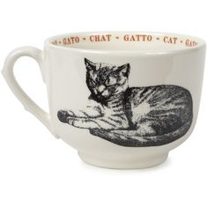 Cat Fauna Grand Cup design by Sir/Madam (69 ILS) ❤ liked on Polyvore featuring home, kitchen & dining, drinkware, coffee mugs, vintage cups, metal cup, colorful coffee mugs, cat coffee mug and cat cup