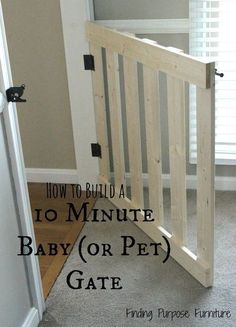 10 minute diy baby pet gate, diy, fences, painted furniture, woodworking projects - Diy Home Crafts Pet Gate, Diy Dog Gate, Baby Gates, Diy Baby Gate, Wood Baby Gate, Ideias Diy, Diy Furniture, Painted Furniture, Kids Room Design