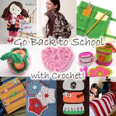 free crochet patterns school fall autumn supplies backpacks gifts kids children college high school notebooks pencils