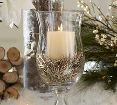 Decoration, Alluring Christmas Design Ideas Candle Decor In A Large Glass Along With Silver Ornaments: Finding a Christmas Centerpieces Ideas Christmas Candle Centerpieces, Christmas Vases, Rustic Christmas, Table Centerpieces, Christmas Crafts, Christmas Decorations, Holiday Decor, Centerpiece Ideas, Family Holiday