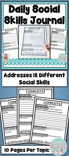 Each social skill topic in this packet contains 10 days of journal topics (2 school weeks worth).  Addresses 18 topics!