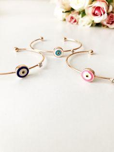 Baby Jewelry, Rose Gold Jewelry, Cute Jewelry, Jewelry Ideas, Evil Eye Jewelry, Evil Eye Bracelet, Bangle Bracelets, Bangles, Evil Eye Charm
