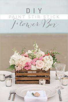 DIY Paint Stick Centerpiece Ideas | DIY Flower Box by DIY Ready at http://diyready.com/paint-stick-diy-projects/