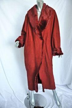 Donna Karan hooded Sheepskin Coats | DONNA KARAN**Black Label**RED SHEARLING Sheepskin Fur+Suede Long Coat ...