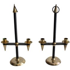 Pair of Candlesticks Attributed to Gio Ponti | From a unique collection of antique and modern candle holders at https://www.1stdibs.com/furniture/decorative-objects/candle-holders/