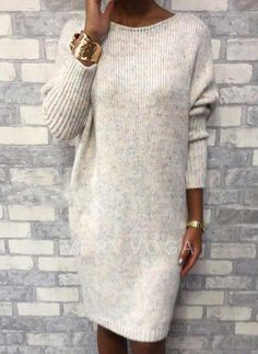 Rotiu Women's Casual Round Neck Loose Knit Dress If you're looking for a bodycon, round neck dress look no further than this! Our feminine dress will add an instant style upgrade to your closet. Long Sleeve Shirt Dress, Long Sweaters, Pulls, Types Of Sleeves, Short Sleeves, Knit Dress, Jumper Dress, Cute Dresses, Elegant Dresses