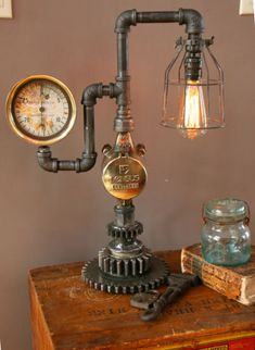 about Steampunk Lamp Industrial Machine Age Steam Gauge Light Gear Boile. - -Details about Steampunk Lamp Industrial Machine Age Steam Gauge Light Gear Boile. Industrial Artwork, Vintage Industrial Furniture, Industrial Interiors, Industrial Lighting, Industrial Shop, Industrial Wallpaper, Industrial Bookshelf, Industrial Windows, Industrial Restaurant