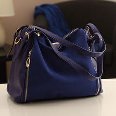 2013 fashion nubuck leather vintage color block navy blue shoulder bag handbag cross-body women's handbag $52.89