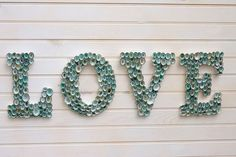 Beach Decor Seashell Covered Sign Letters - LOVE or Any 4-Lettered Word - 35 Creative DIY Letters in Life  <3 <3