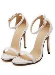 White Stiletto High Heel Ankle Strap Sandals.