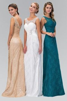80d58adf81 Lace Long Dress with Sheer Illusion Neckline 103-GL1392 Prom dress  Bridesmaid dress - Simply