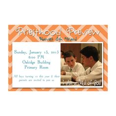 LDS Primary Priesthood Preview Invitation.