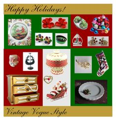 Happy Holidays! by anna-ragland on Polyvore featuring Napier, Krementz, MACBETH, Improvements, NOVICA, Avon and vintage