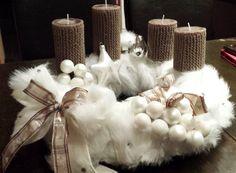 Adventskranz Puschelkranz aus Fellimitat weiß Weihnachten Kranz