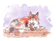 Mouse and Cat Card, Funny Animals Pets Watercolor Painting Illustration Cartoon Print 'Best Friends'