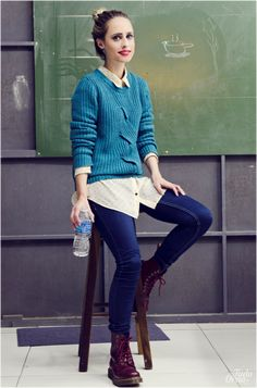 Blue Sweater and Burgundy Dr. Martens | @tudoorna