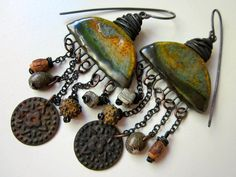 The Futile Pursuit of Triviality - primitive assemblage jade amber bronze ceramic connector, rusty coin, wood, shell, pyrite, copper earring by LoveRoot