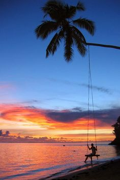 Sunset Swing in Viti Levu, Fiji. This would be beautiful for photos. Follow my board for more Fiji wedding inspiration.