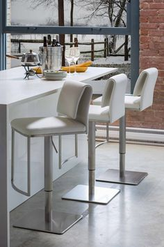 Neo Leatherette Brushed Steel Base Hydraulic Bar Stool White