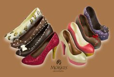 Chocolate high heel shoes by Morkes Chocolates. Enjoy hand molded, hand decorated, premium chocolate high heel shoes. Sizes range from life size, size 6 shoes to smaller replicas. Customize the shoes with the many color and highlight options available. Enjoy our rich milk, dark or white chocolate, as well as our amazing sugar free chocolate. A fun gift for the shoe lover in your life!