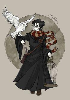 Harry Potter & Hedwig | art by IrenHorrors