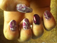 white base with pink glitter crackle, and ring finger black with pink glitter crackle. 11-7-12