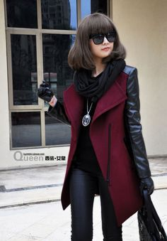 Women's Winter Fashion Oblique zipper Leather Wool Patchwork cashmere overcoat long wool Suits woolen thick outerwear Free ship $69.50