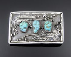 NAVAJO STERLING SILVER LEAF APPLIQUE & TURQUOISE BELT BUCKLE by EDWARD LEWIS