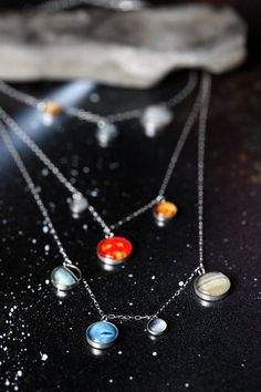 Layered Solar System Galaxy Necklace Elegant by jerseymaids