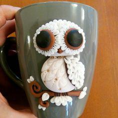 White owl polymer clay mug