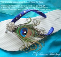Peacock blue Flip flops with Swarovki Crystals. Bridesmaid Bridal Party, made in your wedding colors -SOMETHING BLUE-