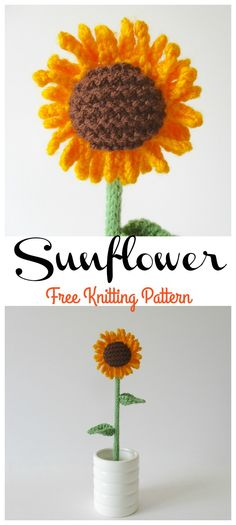 Pretty and Simple Knitted Sunflower – Free Pattern Knitted Flowers Free, Knitted Flower Pattern, Crochet Flowers, Flower Patterns, Knitted Bunting, Loom Knitting, Knitting Patterns Free, Free Knitting, Free Pattern
