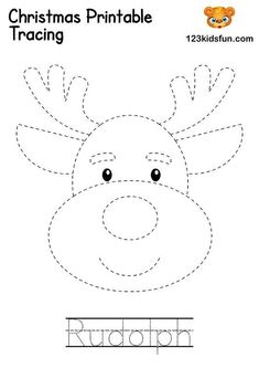 Printable Christmas Picture and Word Tracing - Rudolph. In our free Christmas Printable, you will find coloring pages, christmas cards, paper ball ornaments, christmas games and gift tags. Felt Christmas Decorations, Felt Christmas Ornaments, Christmas Games, Christmas Activities, Christmas Colors, Christmas Art, Simple Christmas, Ball Ornaments, Christmas Ornament Template
