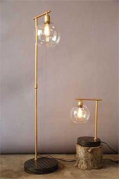 gold floor lamp with wood base