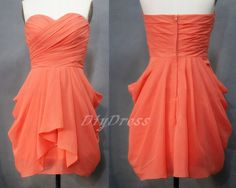 Strapless Sweetheart-neck Chiffon Short Bridesmaid Dresses Mini Coral Princess Bridesmaid Dress,Short Prom Dress
