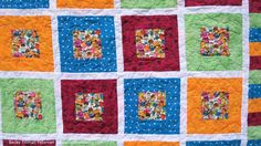 """Completed """"Framed"""" Quilt - Quilted Twins Blog Post -     Modern Quilting - Scrub Quilt - Bright Colored Quilt"""
