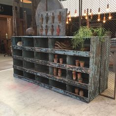 blue painted industrial cabinet