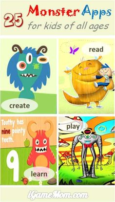 25 monster apps for kids to create, read, play, and learn. Great and fun interactive activities for Halloween, also good for any time of the year. #kidsapps