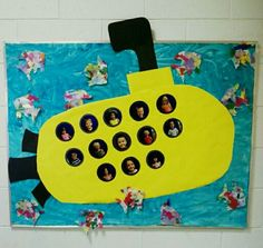 "Ocean themed bulletin board - preschool - submarine with kids faces in the ""portholes""."