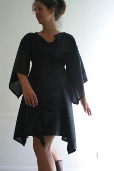 Kimono Wrap Dress/ Kimono Sleeve Dress in Linen by NervousWardrobe, $100.00