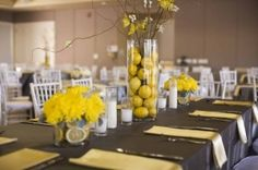 gray and yellow wedding decor, lemon centerpieces, a good affair wedding design by jewel