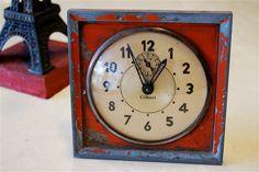 Red Metal Vintage Gilbert  WindUp Alarm Clock by oohlalamaui, $55.00