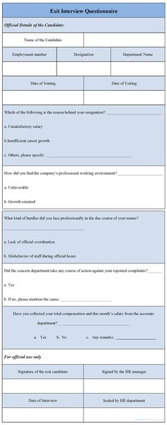 Exit Interview Form  Rubrics