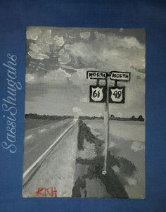 """Acyrlic Art Canvas Painting The Delta Old South Mississippi    TO BUY: Shop directly at spreesy.com/Sassishugah/2  Price: $35.00.    Acyrlic Art Canvas Painting The Delta Old South Mississippi Series    An 5x7 canvas board painting with the subject of the historical  Mississippi Delta. The title, """" Blues Highway"""" shows a lonely highway surrounded by vast flat land. Also at the intersection of Hwy 61 and 49 is where Robert Johnson sold his soul to the devil.    The artist, Rhonda Rich, is a…"""