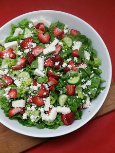 Strawberry Cheese Salad with Ranchero Queso Fresco and Cacique Cotija Cheese